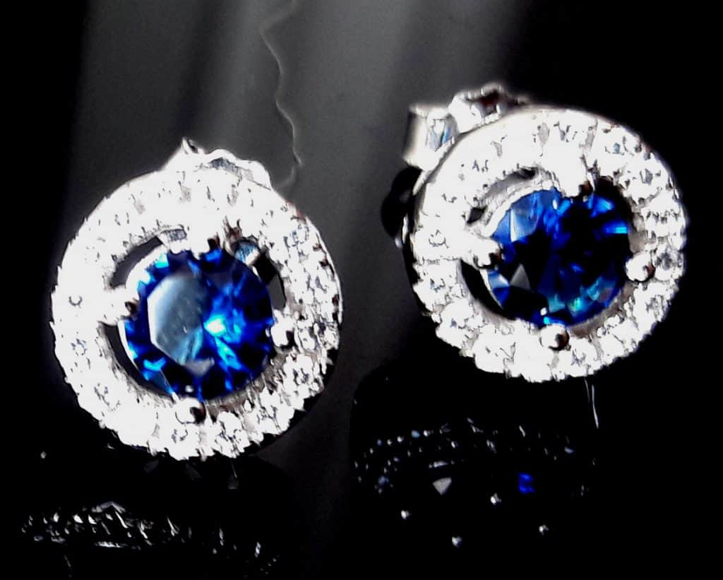 Round Lab Sapphire and CZ Studs
