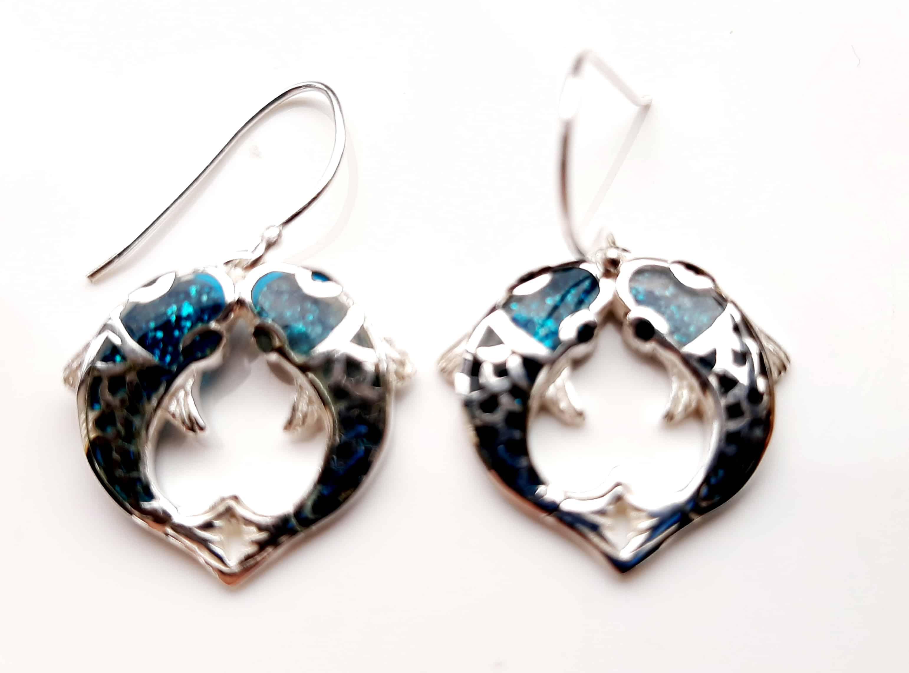 blue carp earrings