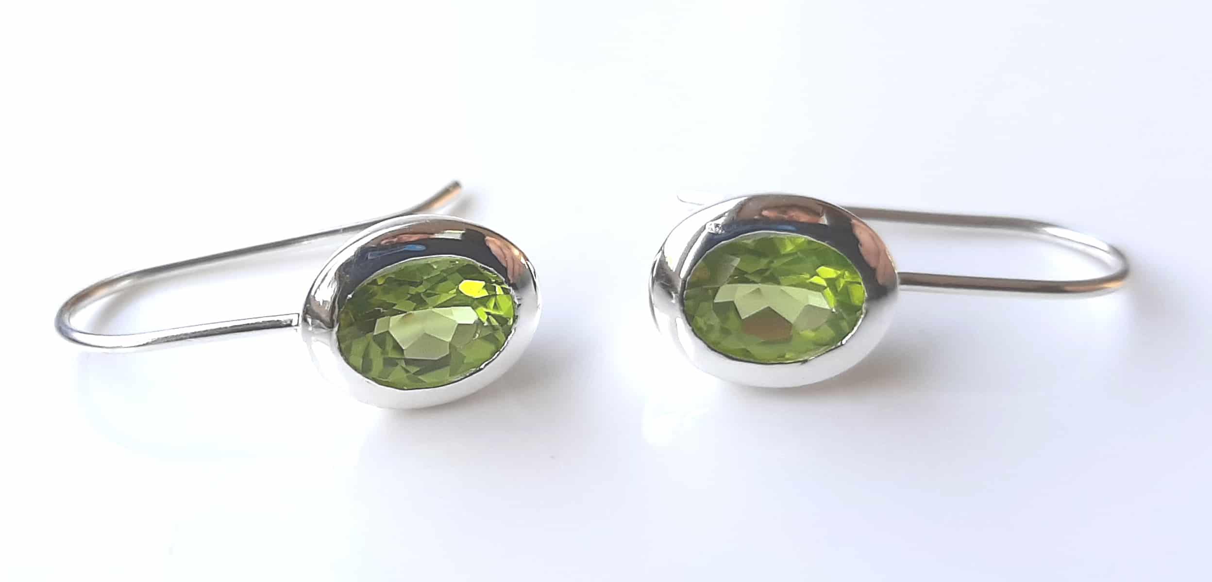 classic oval peridot drop earrings