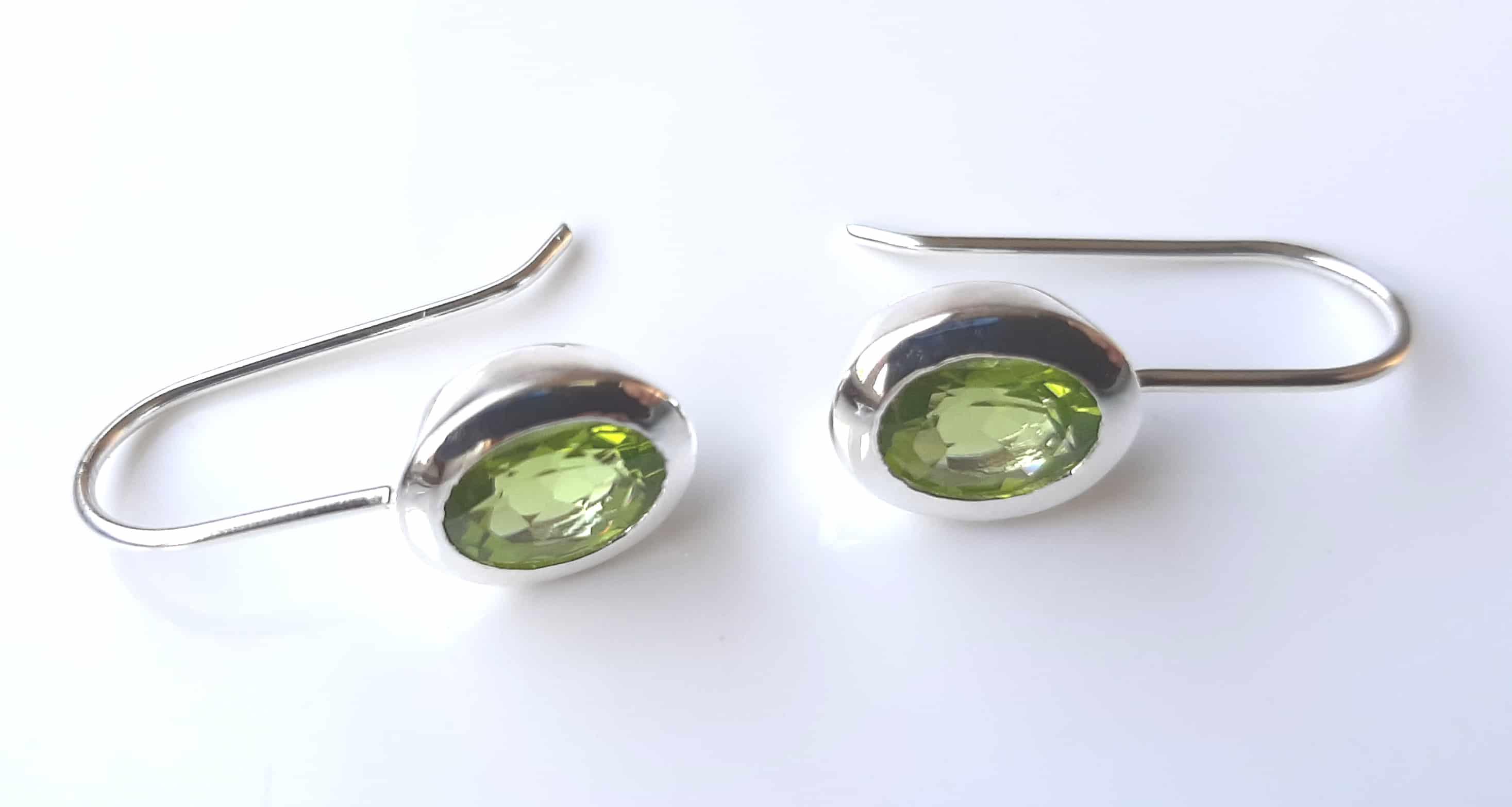 oval classic peridot drop earrings