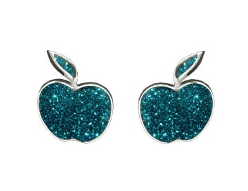 turqiouse-glitter-apple-studs