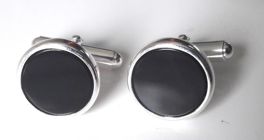 Black Onyx round cufflinks