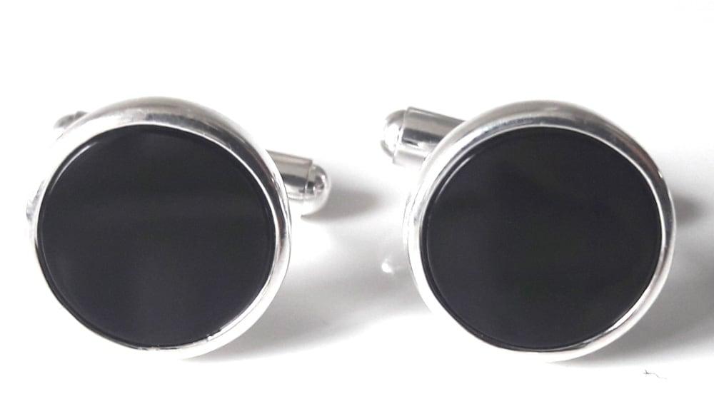 Onyx round cufflinks