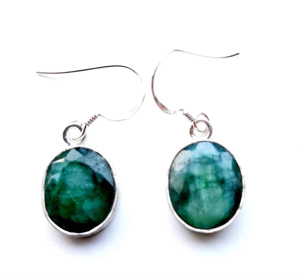 emerald oval drop earrings
