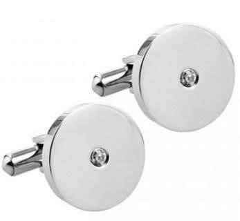 stainless steel round cz set cufflinks