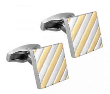 stainless steel square gold stripe cufflinks