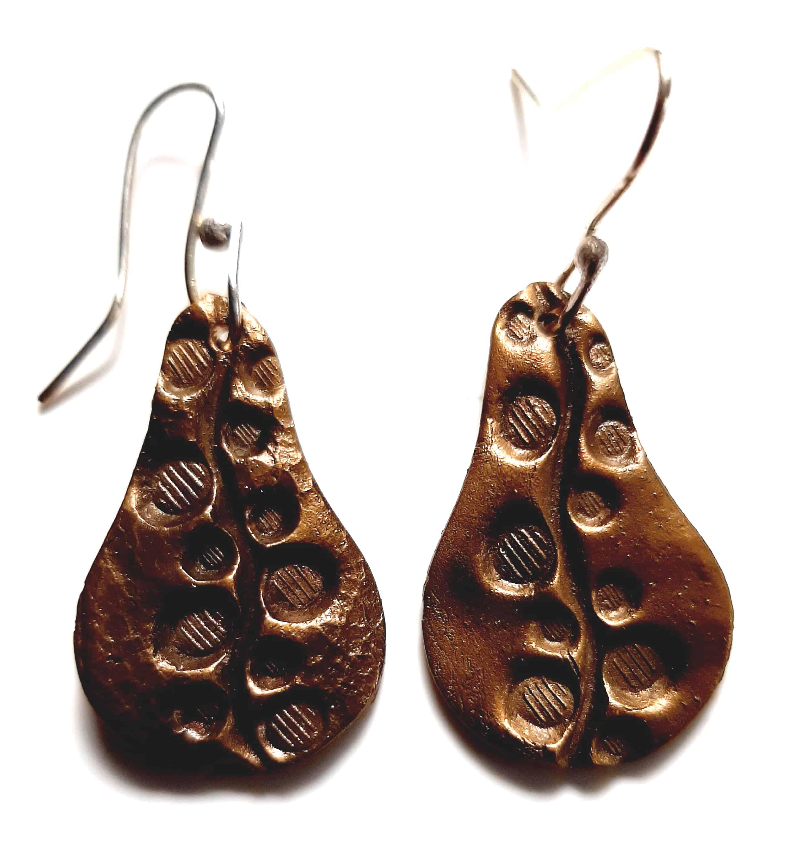 vine drop bronze earrings
