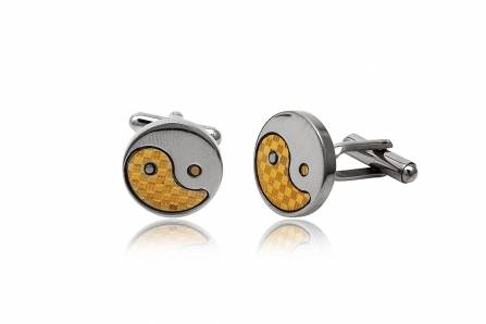 yin and yang stainless steel cufflinks